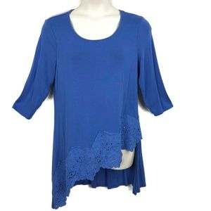 Chicos 2 Blue Asymmetrical Tunic Top Scallop Lace